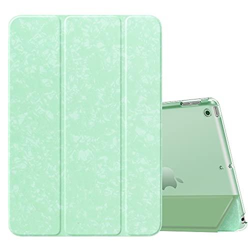 MoKo Funda para Nuevo iPad 8ª Gen 2020 / 7ª Generación 2019, iPad 10.2 Case, Ultra Delgado Función de Soporte Protectora Plegable Cubierta Inteligente Trasera Transparente, Verde Moteado