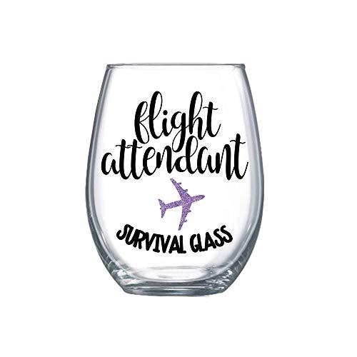 Funny Flight Attendant Gifts for Women Graduation Idea Stemless Wine Glass Present Her 0078