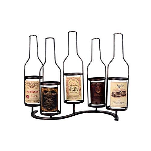 TTWUJIN Estante para vino, montado en la pared, bar, restaurante, estante para botellas de vino, soporte de pared de metal para 5 botellas Estante de alenamiento de pared estilo industrial vintage