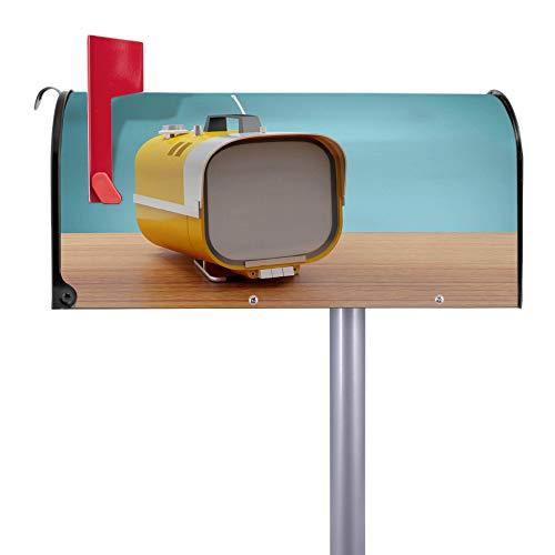 BANJADO US Mailbox   Amerikanischer Briefkasten 51x22x17cm   Letterbox Stahl schwarz   mit Motiv Tragbarer Fernseher   inklusive silbernem Ständer