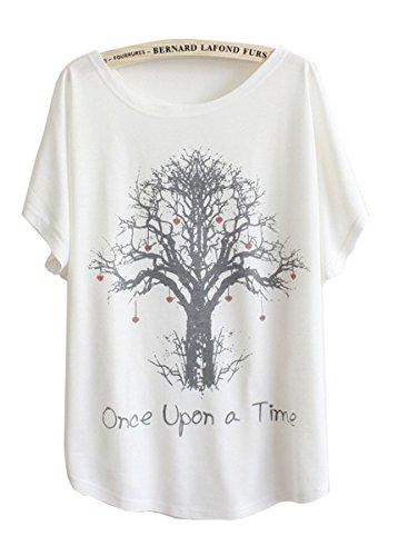 Luna et Margarita T-Shirt Femme Blanche Manche Chauve-Souris à Motif d'arbre Once Upon a Time col Rond Coton mélange Taille 46 48 - Blanc (Arbre) - 3XL