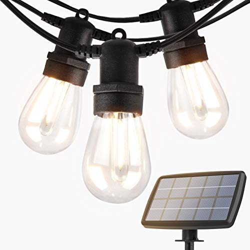 addlon 48FT Solar String Lights Outdoor, LED Solar Patio Lights, Porch Market Lights, Waterproof and Shatterproof, with Vintage Plastic Edison Bulbs, Create Cafe Feeling On Your Garden, Warm Yellow