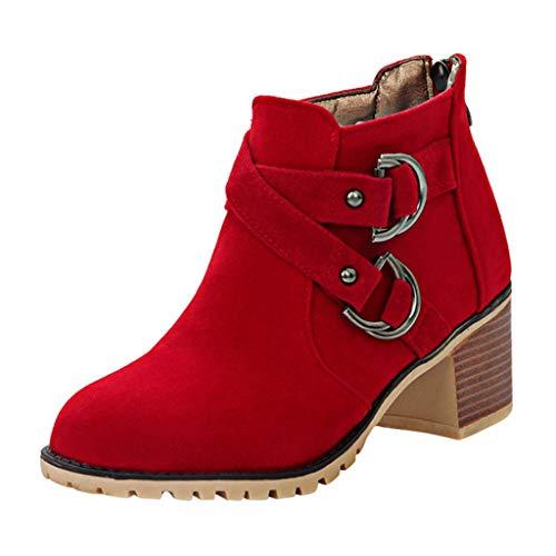 Stiefeletten Damen Wildleder Stiefel Blockabsatz Kurzstiefel mit Schnalle, Frauen Ankle-Boots Mode Cowboystiefel Bequem Herbst Winter Damenschuhe Celucke (Rot, 37 EU)