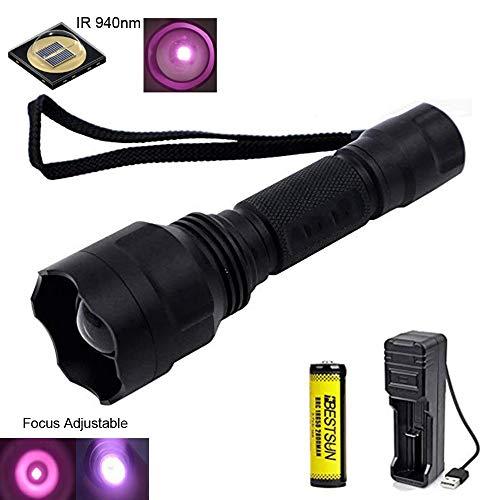 940nm IR Taschenlampe, Nachtsichtgeräte für Infrarot Taschenlampen Zoomfähige, 38mm Objektiv, Zur Verwendung mit Jagd und Nachtsichtgeräten (Infrarotlicht ist für menschliche Augen Nicht sichtbar)