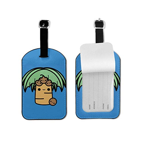Palm Tree and Tropical Island Lage Tags Labels with Privacy Cover for Cruise Ships,for Travel Bag Suitcase