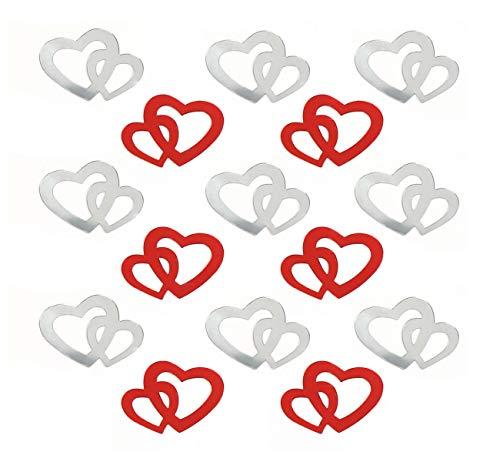 Sweelov 600 STK Doppel Herzen Konfetti siber mit rot Konfetti Tischdeko Hochzeit Herz Konfetti Tisch Deko für Hochzeit Geburtstag Feier Jubiläum Deko