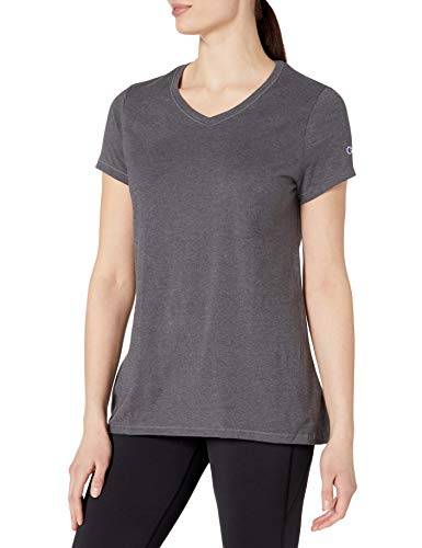 Champion womens Jersey V-Neck Tee granite heather L