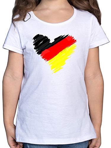 Fussball EM 2021 Fanartikel Kinder - Deutschland EM Herz - 140 (9/11 Jahre) - Weiß - Deutschland Shirt mädchen - F131K - Mädchen Kinder T-Shirt