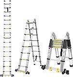 fixkit scala telescopica in alluminio, scala retrattile 3.8m scaletta pieghevole, scala 3 gradini scala 6 gradini, scala 12 gradini con barra di bilanciamento [carico 150kg]
