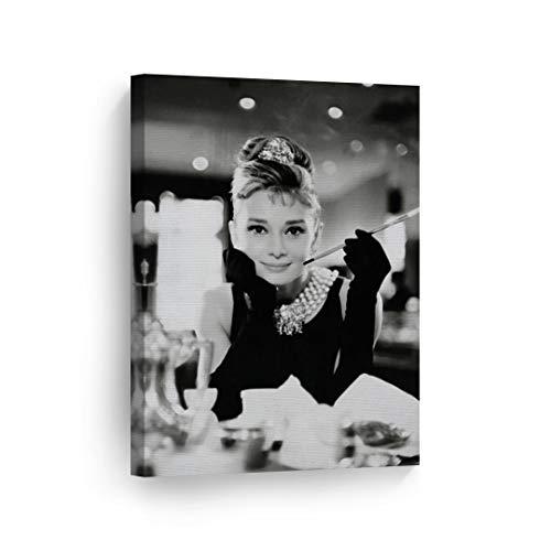 Smile Art Design Audrey Hepburn Breakfast at Tiffany`s Canvas Print Decorative Art Modern Wall Decor Artwork Living Room Bedroom Wall Art Ready to Hang Made in The USA AHV9 12x8