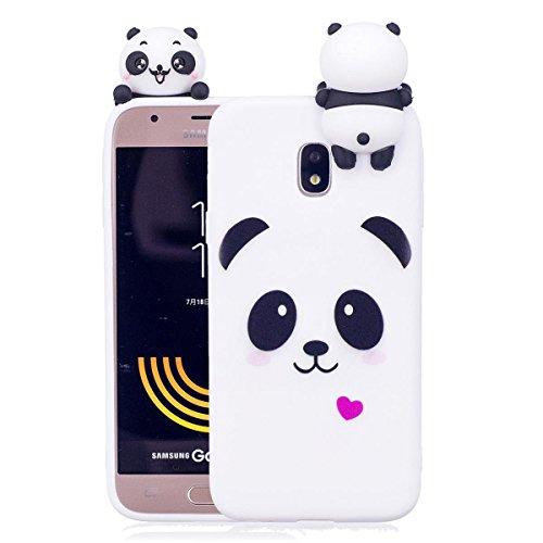 Samsung J3 2017 Hülle, Samsung J330 Schutzhülle, 3D Panda - Weiß Muster Design Handy Hülle für Samsung Galaxy J3 2017 / J330, Ultra Dünn TPU Weich Silikon Handycover Schale Schutzhülle