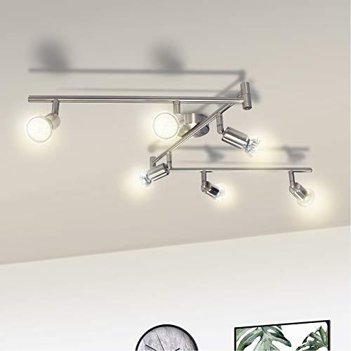 Wowatt LED 6 flammig Deckenleuchte Deckenstrahler LED Spotbalken Deckenlampe Küche Schwenkbar Wohnzimmer Flur Schlafzimmer Warmweiß Spotleuchte Decke Inkl. 6x 6W Spots GU10 2800K Matt Nickel Modern