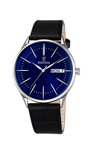 Reloj analógico con Mecanismo de Cuarzo para Hombre, de Festina, F6837/3, diseño clásico, Esfera Azul y Correa de Piel Negra