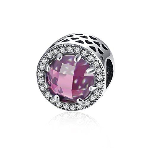 HMILYDYK 925 argento cristallo Eement CZ Hollow Birthstone Bead charm bracciale a buon mercato e Argento