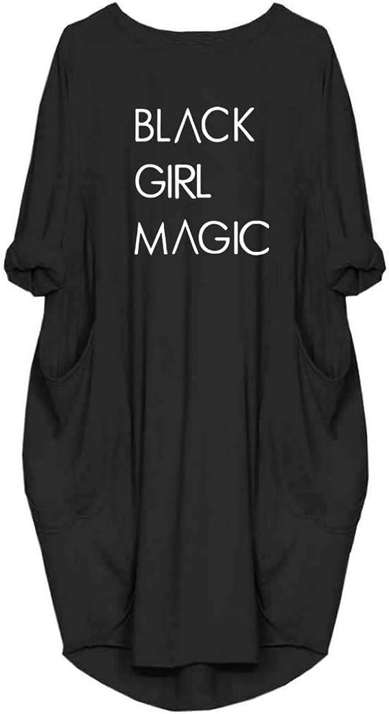 WbJetr Women Black Girl Magic Long Sleeve Casual Tunic Dress with Pocket