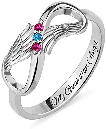 Birthstone Rings for Women Personalized Infinity Angel Wings Ring Angels Wing Rings With 3 Birthstones, Customized Silver Mother Rings for Grandmother Gifts for Mom Meaningful Engagement Rings