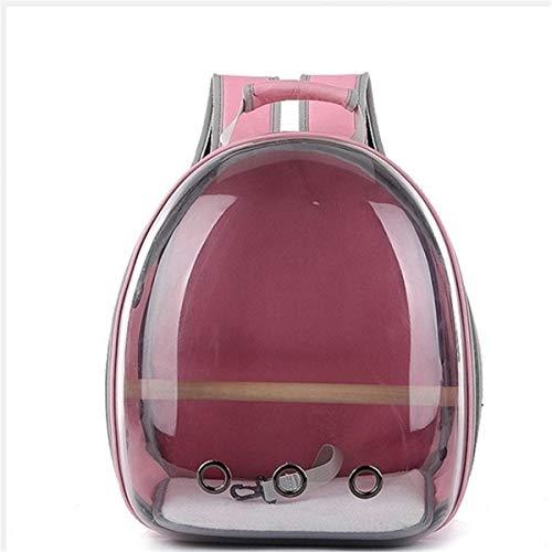 xingxing Pet Supplies Transporttasche für Haustiere, Katzen, Papageien, Vögel, atmungsaktiv, transparent, mit Platz in Kapselform, Rosa