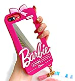 Easierforyou Shipped from USA Barbie Cute Girl Mirror Make up with Chain Charm Case Compatible for iPhone 7 Plus or 8 Plus Cartoon 3D Cute Soft Silicone Rubber Protective Gel Back Cover