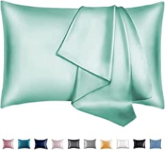 Adubor Satin Pillowcase 2 Pack Silky Pillow Cases for Hair and Skin, Anti-Wrinkle, Super Soft and Luxury Pillow Cases Covers with Envelope Closure (Green, 20''x26'')