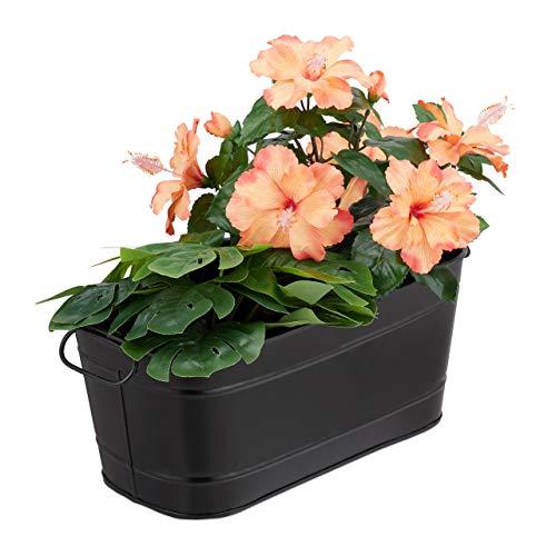 Relaxdays Blumenkasten, für Garten, Balkon, Fensterbank, zum Bepflanzen, Vintage-Optik, Metall, HBT 16x38x19 cm, schwarz