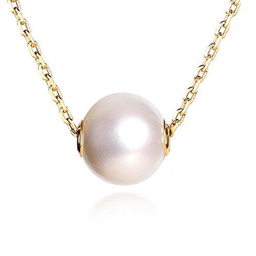 Dalwa 925 Silber Perlenkette Damen echt Süßwasser-Zuchtperle-Anhänger, mit 14 Karat 585 Gold vergoldete Kette, Ideales Geschenk für Mutter und Frauen, inkl. Scmuck-Etui