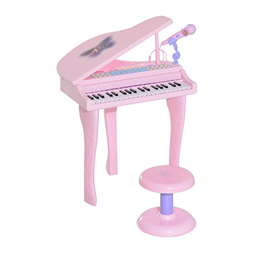 HOMCOM Kinder Klavier Mini-Klavier Piano Keyboard Musikinstrument MP3 USB inkl. Hocker 37 Tasten Rosa