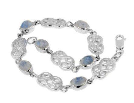 Sterling Silver Genuine Rainbow Moonstone Celtic Knot 7' Link Bracelet
