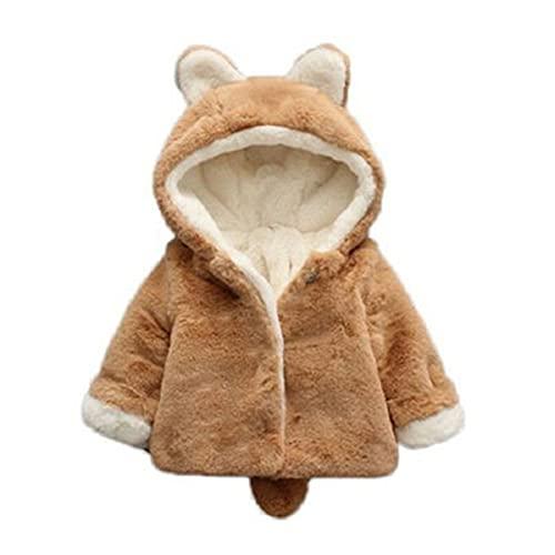 Chaqueta de ropa para niños de invierno para niños y niñas, de piel de zorro engrosada, de 0 a 6 meses, café, 0-6 Meses