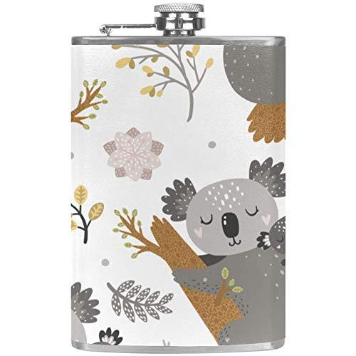Koala and Flowers Flagon Hip Flask Alcohol Whisky Wine Pot Scotch Frasco de acero inoxidable plegable Copa a prueba de fugas Barware Bebida Embudo al aire libre