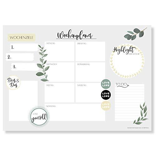 Wochenplaner Block A3 (25 Blatt) - Schreibtischunterlage mit To Do Liste - Wochen Planer aus Papier als Schreibtisch Unterlage - Weekly Planner Undatiert - Schreibunterlage mit Wochenplan - Love