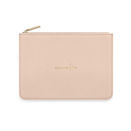 Katie Loxton Live Laugh Love Womens Structured Vegan Leather Fashion Pouch Clutch Bag Nude Pink