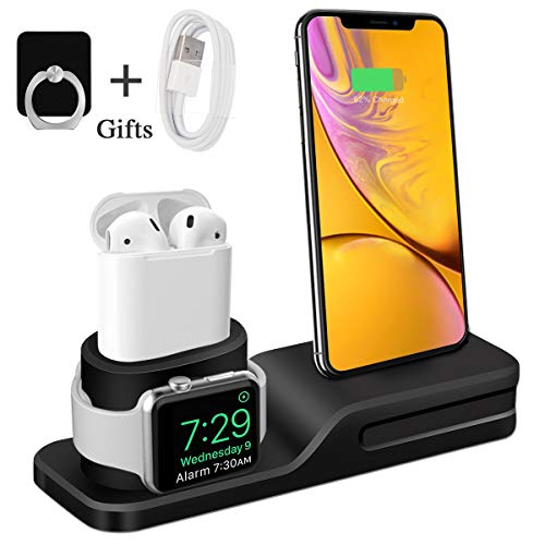 Bestrans Stand for Apple Watch iPhone, 3 in 1 Silicone Docking Station for...