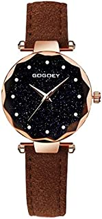 Fashion Leather Strap Watches Rectangle Dial Drill Simple Scrub Soft Belt Watch(Black) (Color : Brown)