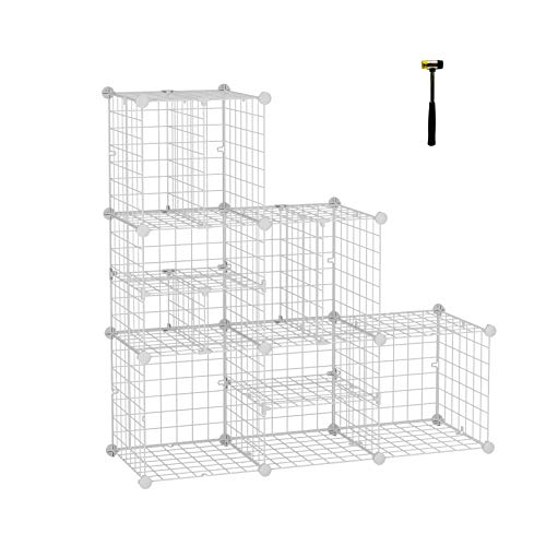 C&AHOME Metal Wire Cube Storage Organizer, Closet Cabinet, DIY Book Shelf, Large and Small Style Divider Ideal Design for Closet, Bedroom, Living Room, Office White ZLW306A