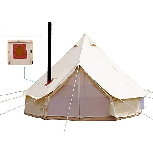 UNISTRENGH 4M/13.1ft Luxury Bell Tent Waterproof 4 Season Large Cotton Bell Tent with Roof Stove Jack