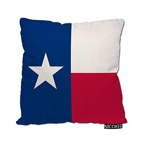 Nicokee Cotton Linen Pillow Covers Texas Lone Star State Flag Throw Pillow Covers Cases for Couch Sofa Bed Home Decor 18 x 18 Inches