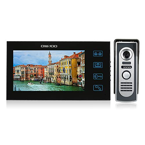 OWSOO 7 Pulgadas Videoportero con Pantalla Táctil a Color, 1 Monitor Interior + Cámara Exterior Impermeable, Intercomunicación de Timbre Soporte Vision Nocturna, Audio Bidireccional
