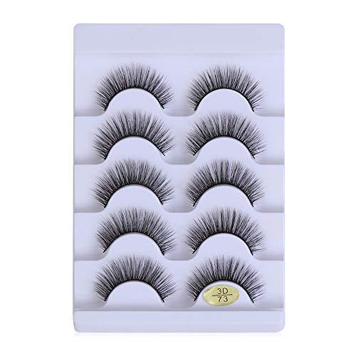 Xunteng SKONHED 5 Pairs Eye Makeup Tools Wispy Flared Multi-styles Natural Long Eye Lash Extension False Eyelashes 3D Faux Mink Hair Criss-cross(3D73)