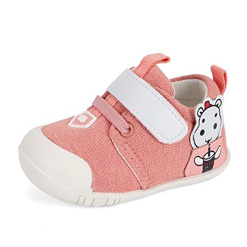 MASOCIO Babyschuhe Mädchen Lauflernschuhe Baby Schuhe Sneaker Anti-Rutsch Rosa 18-21 Monate Größe 21