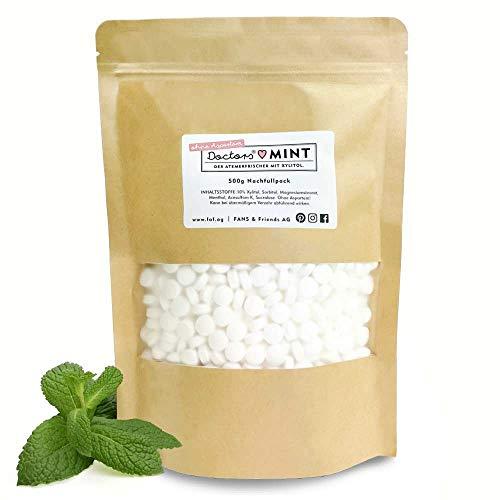 DOCTORS Mint mit Xylit, 1000 Stück Pfefferminz Bonbons zuckerfrei Großpackung, Xylit Bonbons ohne Aspartam, Pfefferminz Pastillen ohne Zucker, 500g