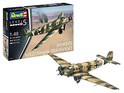 Revell 03918Maquette d'avion Junkers Ju52/3M, échelle 1/48, Multicolore, 17533