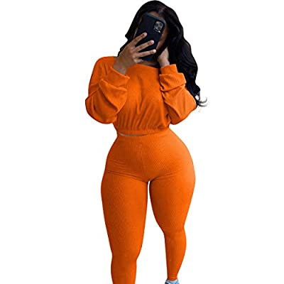 Womens Two Piece Workout Outfits - Tracksuit Ribbed Pullover Crop Top Long Pants Jogger Matching Set Yoga Sportswear M Orange
