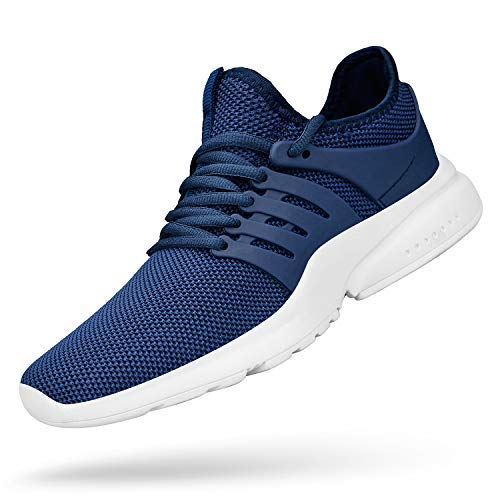 Feetmat Mens Tennis Shoes Ultra Lightweight Non Slip Sport Shoes Slip-On Sneakers for Boys Fashion Shoes Black Running Shoes Blue White 8.5