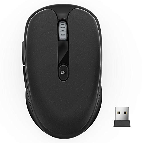 Wireless Mouse, TedGem 2.4G Silent Computer Mouse Portable Cordless Mouse Optical USB Mouse Ergonomic Mouse with USB Receiver 6 Buttons 3-Level DPI Laptop Mouse for Windows MacOS PC Laptop (Black)