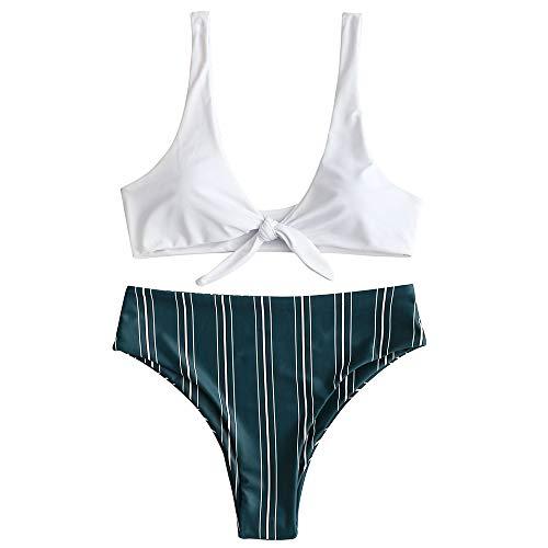 ZAFUL Damen Geknoteter Brazilian Bikini Gestreifter Slip Beachwear Bademode Sommer(Waldgrün S)