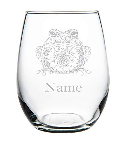 Kikker met naam 11oz steelloos Wijnglas