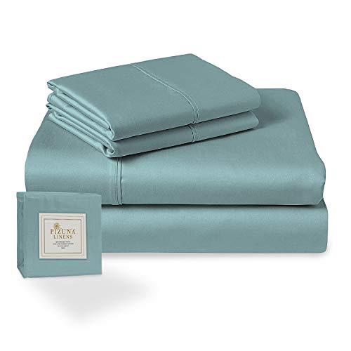 Pizuna 400 Thread Count Cotton King Size Sheet Set Stone Blue, 100% Long Staple Cotton Soft Sateen Bed Sheets fits Upto 15 inch Deep Pockets (100% Cotton Stone Blue Sheets King)