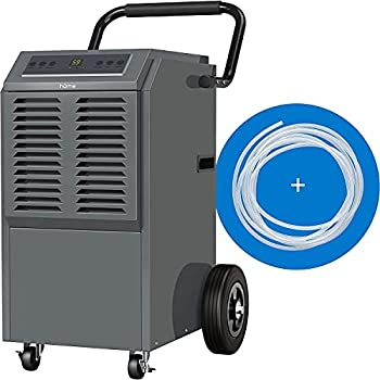 hOmeLabs Commercial Grade 140 Pint Dehumidifier - Built-In Pump Includes Drain Hose and Washable Filter - Ideal for Large Basements Industrial or Commercial Spaces and Job Sites
