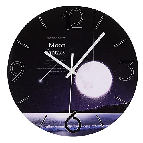 Garneck Reloj de Pared Silencioso Reloj Colgante de Pared Reloj de Cuarzo Púrpura Redondo Reloj de Pared Decorativo para La Cocina Sala de Estar Dormitorio