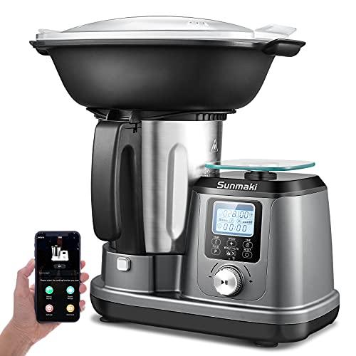 Robot Cucina Sunmaki Macchina da cucina multifunzione con piattaforma di pesatura 1200W Modalità automatiche multiple 10 velocità Temperatura regolabile con timer Schermo LCD Controllo mobile